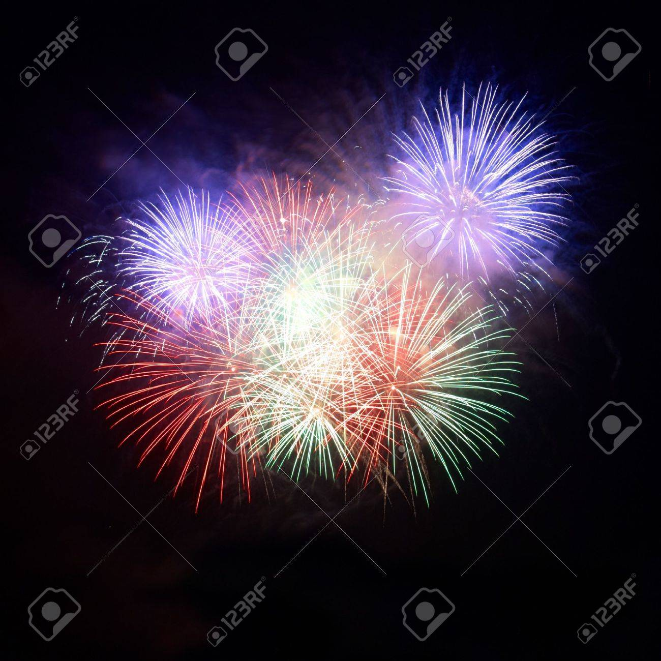 Colorful fireworks on the black sky background Stock Photo - 8573163