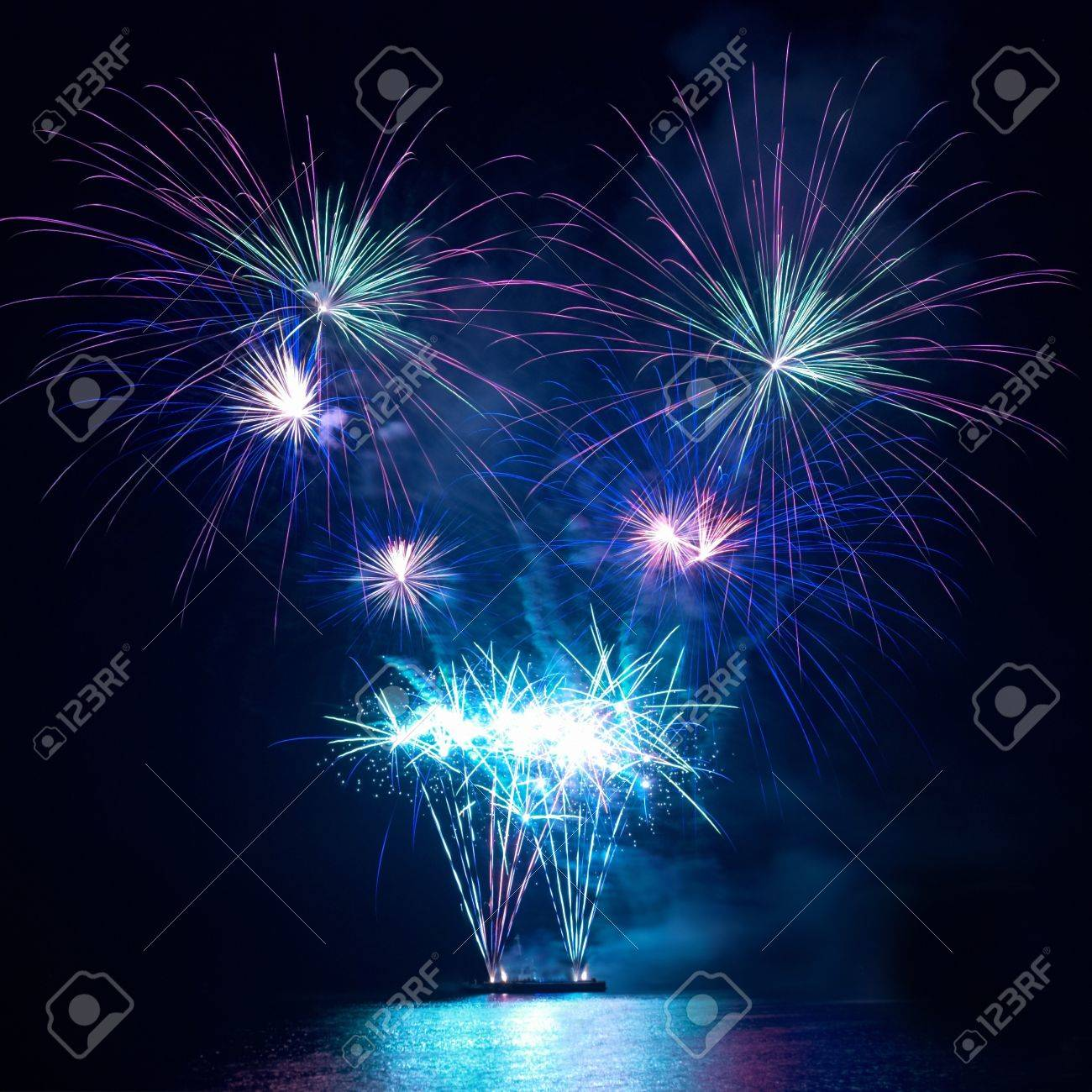 Colorful fireworks on the black sky background Stock Photo - 9586816