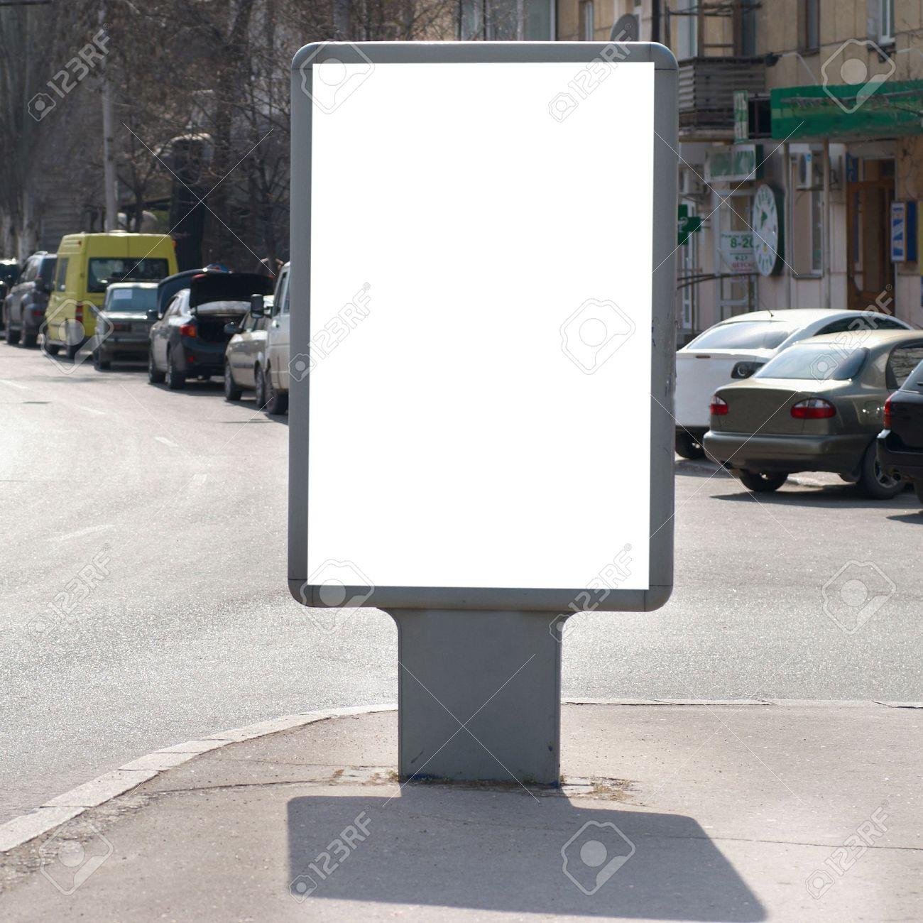 Vertical blank billboard on the city street Stock Photo - 9586850