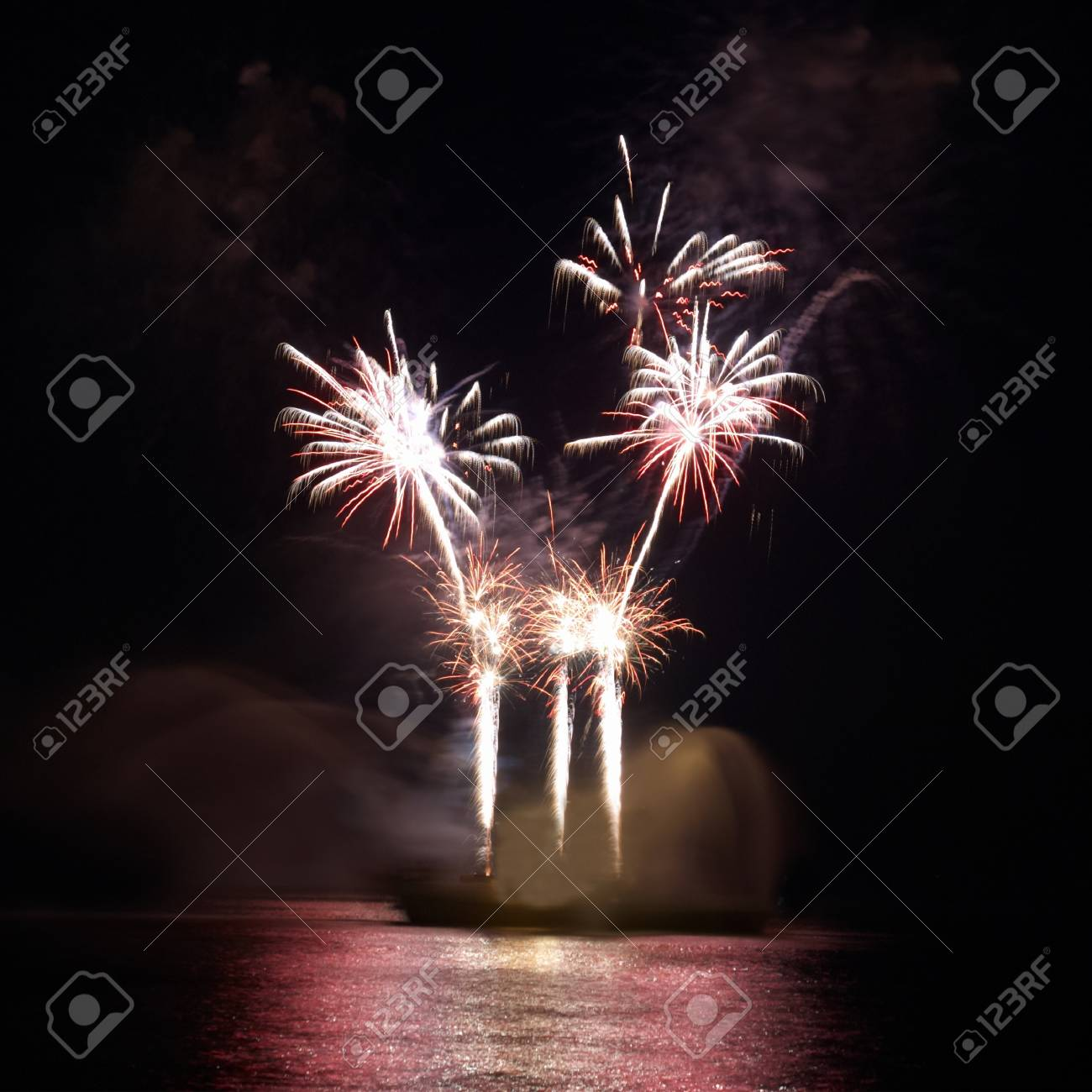 Colorful fireworks on the black sky background Stock Photo - 9586840