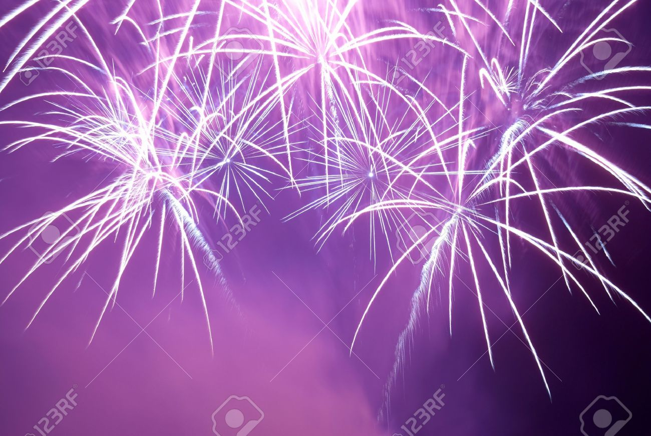 Blue and purple colorful fireworks on the black sky background. Holiday celebration. Stock Photo - 11154147