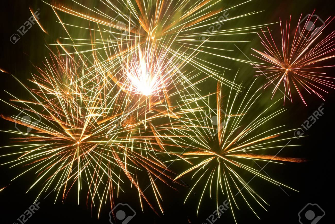 Colorful fireworks on the black sky background Stock Photo - 13029328