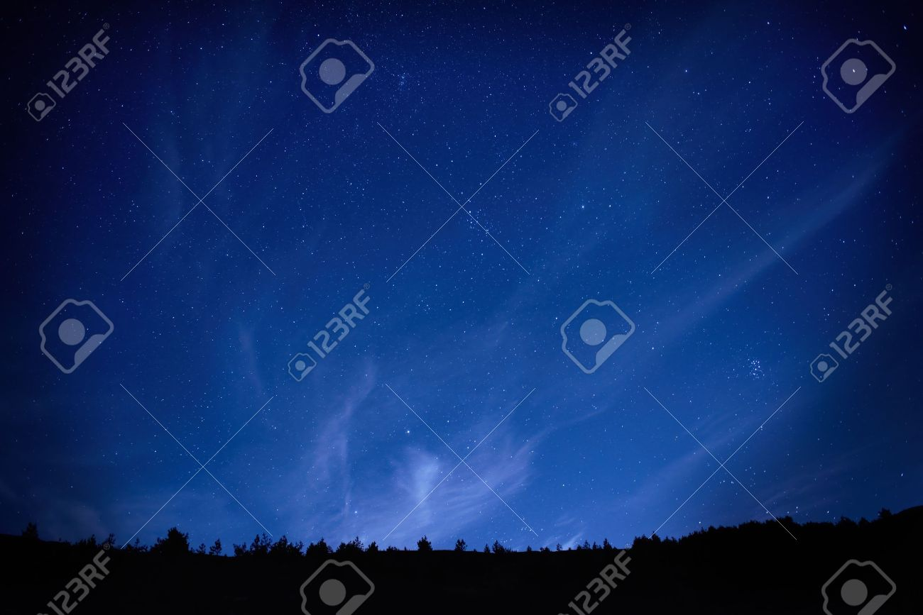 Blue dark night sky with many stars  Space background Stock Photo - 16859192