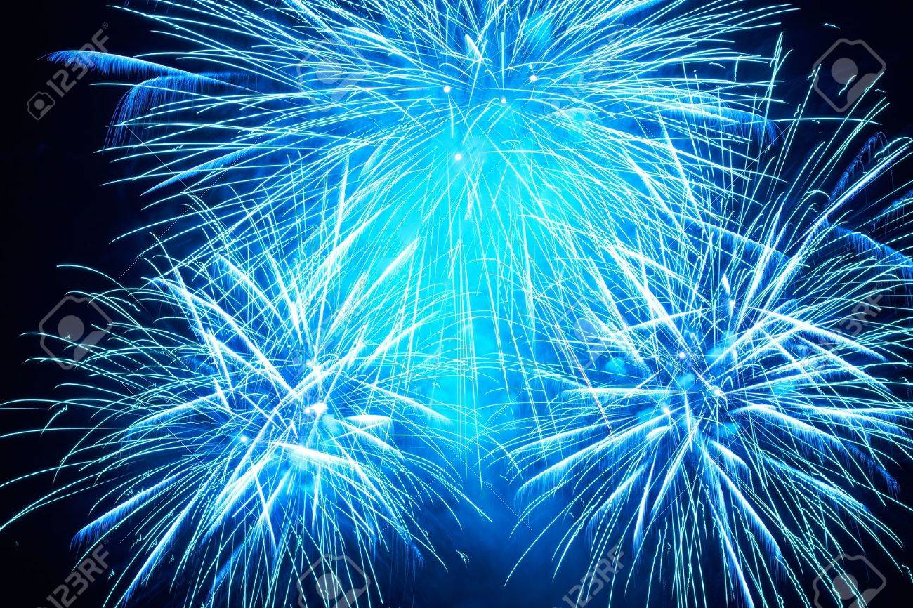Blue colorful fireworks on the black sky background Stock Photo - 16842622