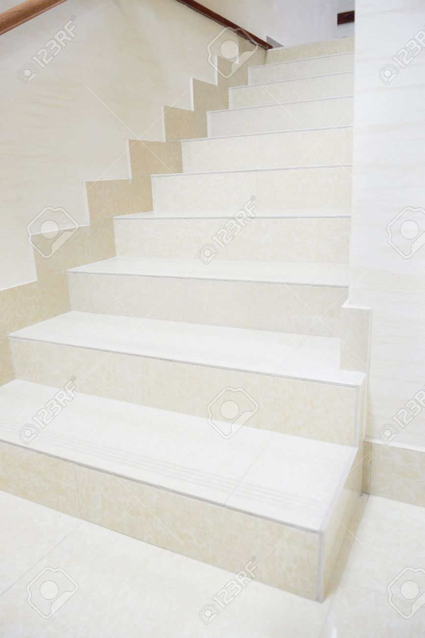 White Marble Staircase In The Modern House Stock Photo   18599921