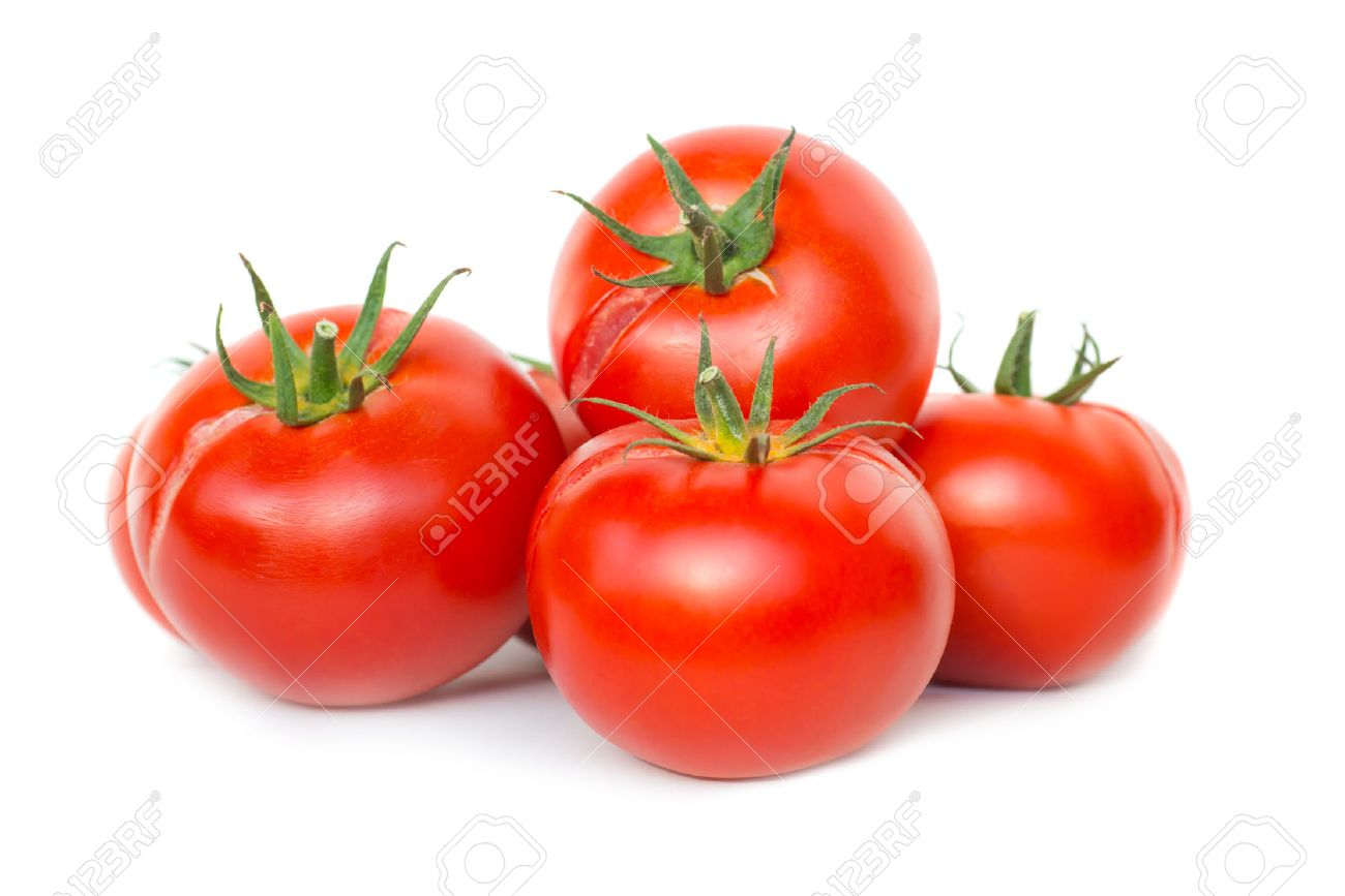 Group of red fresh ripe tomatoes isolated on white background - 47154361
