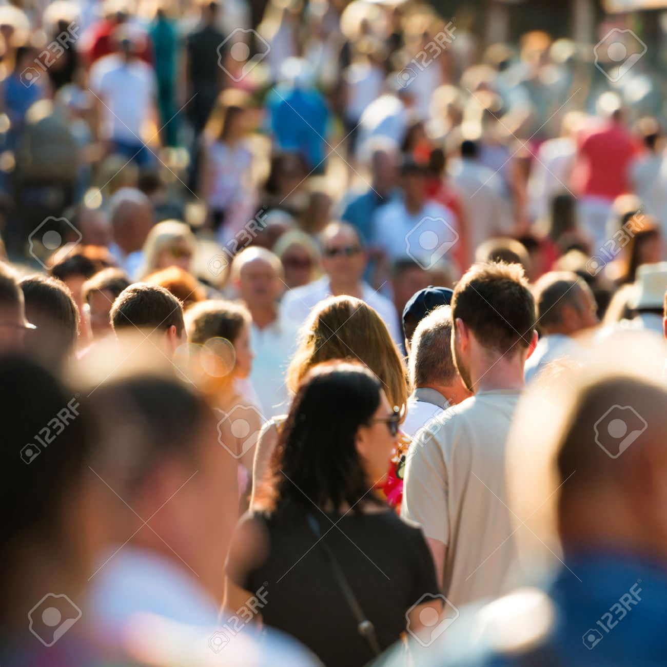 Crowd of people walking on the busy city street. Stock Photo - 50537352
