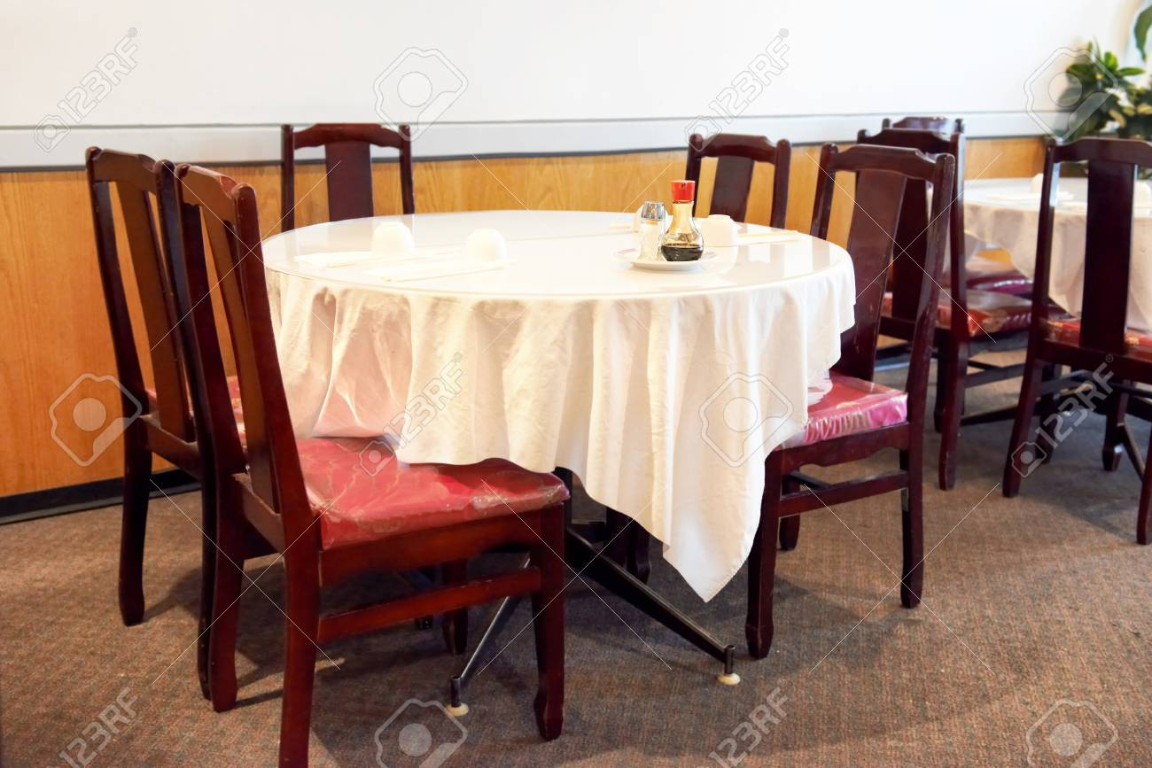 Table Setting On White Tablecloth In Chinese Restaurant Stock Photo Picture And Royalty Free Image Image 73251767