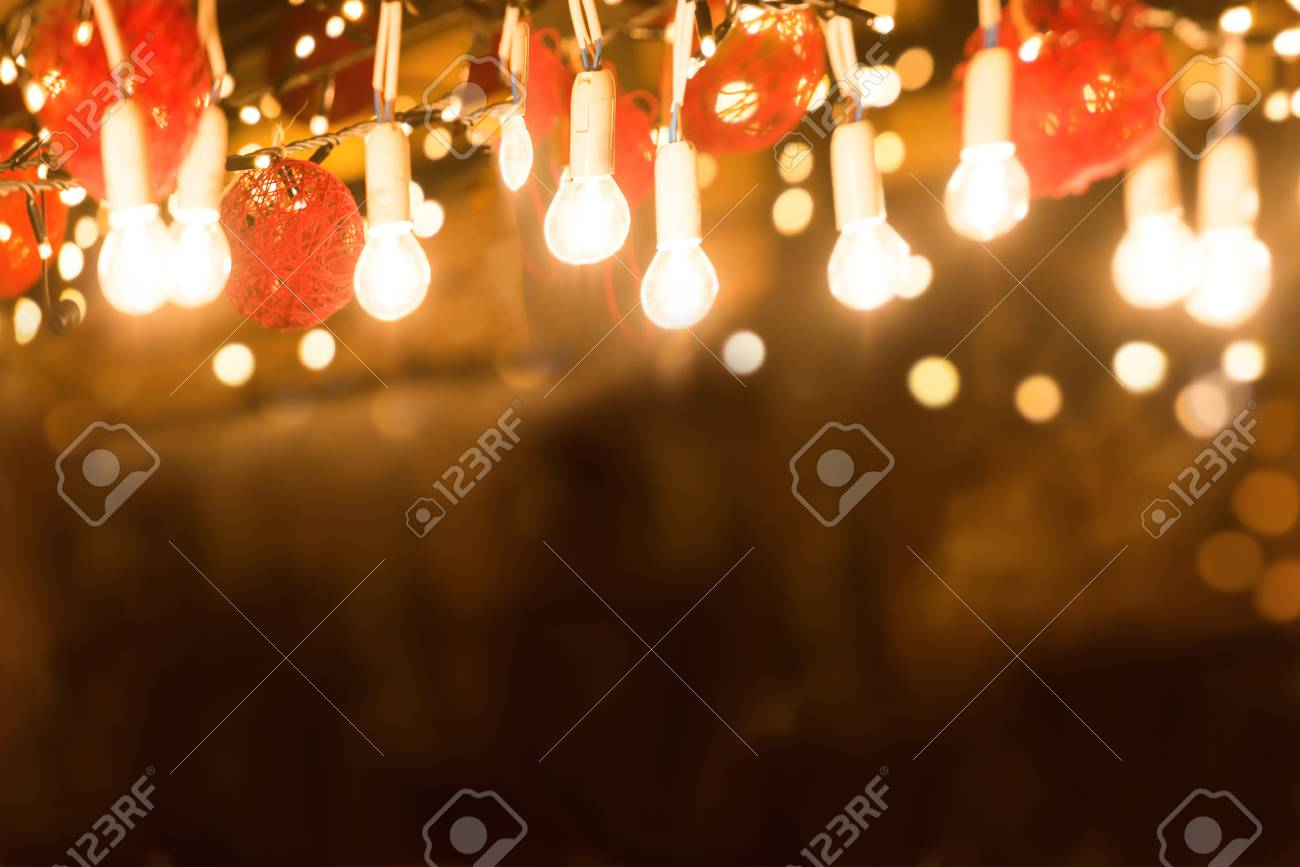 Bar Counter With Light Illumination At Night City Street Stock Photo ...