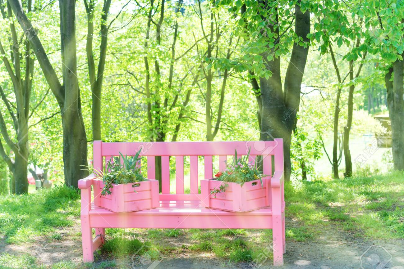 Strange Pink Bench With Flowers In The Green Spring Park Machost Co Dining Chair Design Ideas Machostcouk