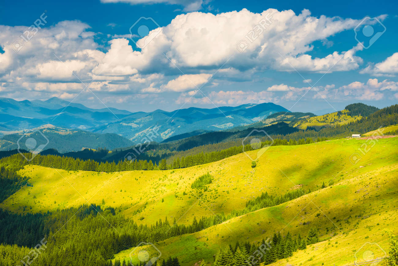 Green sunny valley in mountains and hills. Nature landscape - 155153808