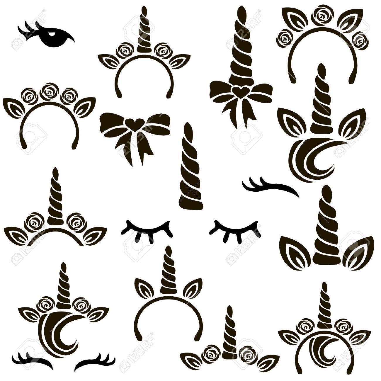 Unicorn symbols vector set. - 82081955