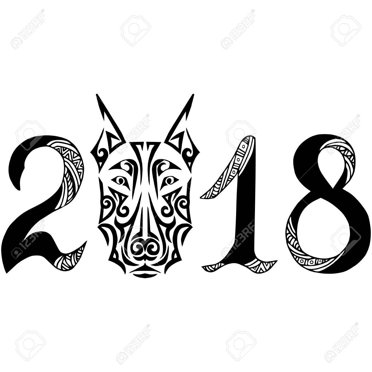Dibujado A Mano Signo 2018 Con La Cabeza De Perro Doberman