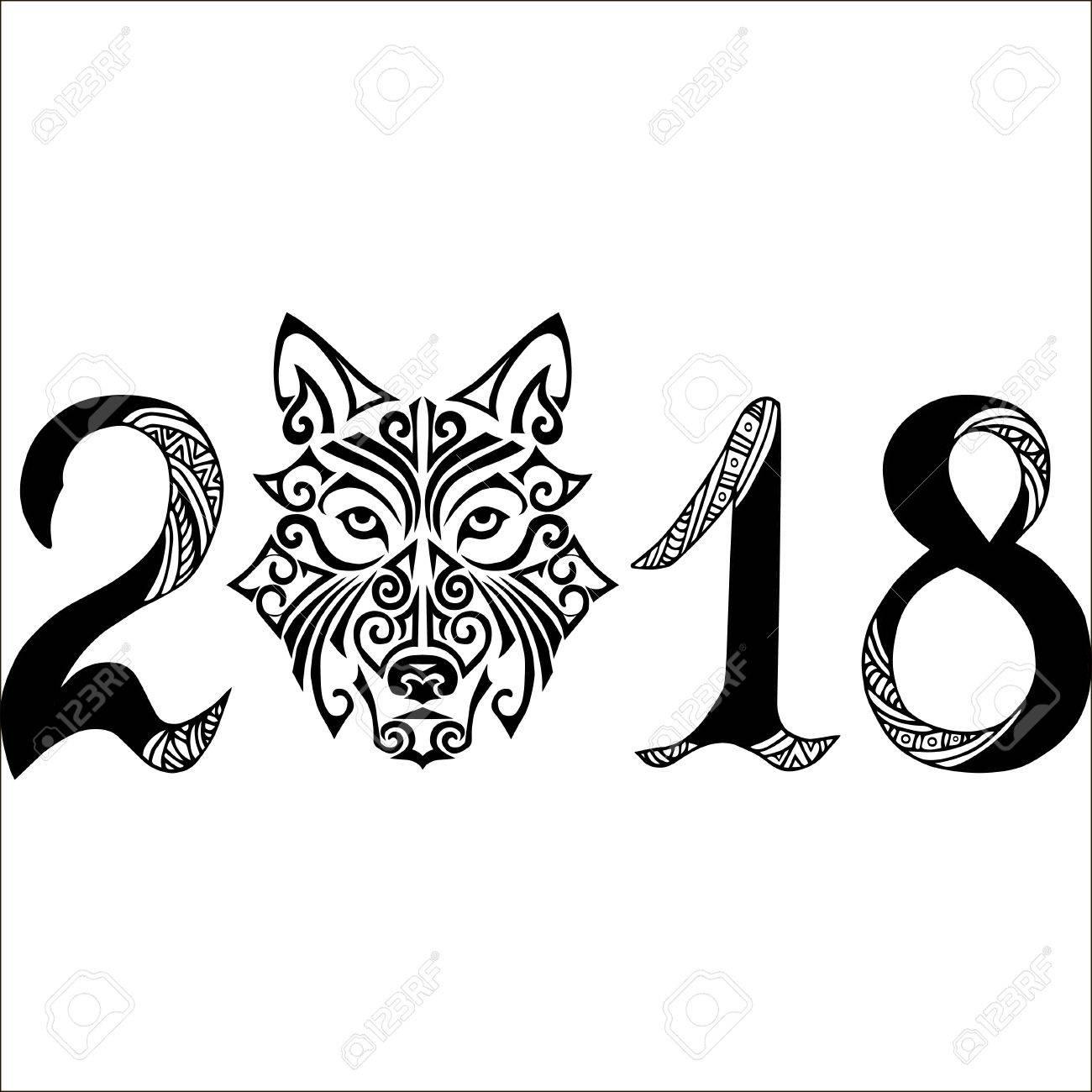 Signo Dibujado A Mano 2018 Con Cabeza De Perro Tatuaje Maor Cara