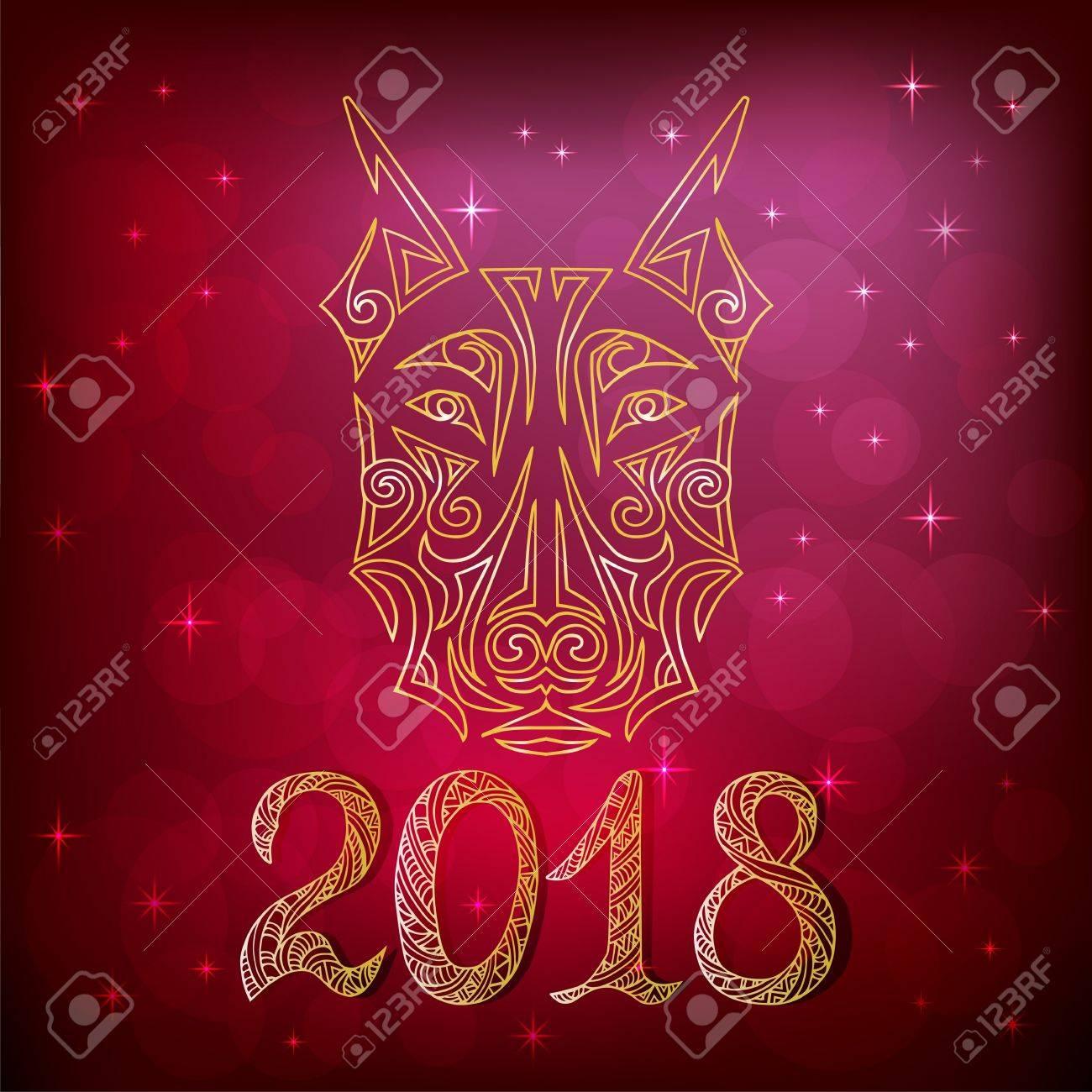 Carte De Nouvel An 2018 Avec Tatouage De Tete De Chien Doberman