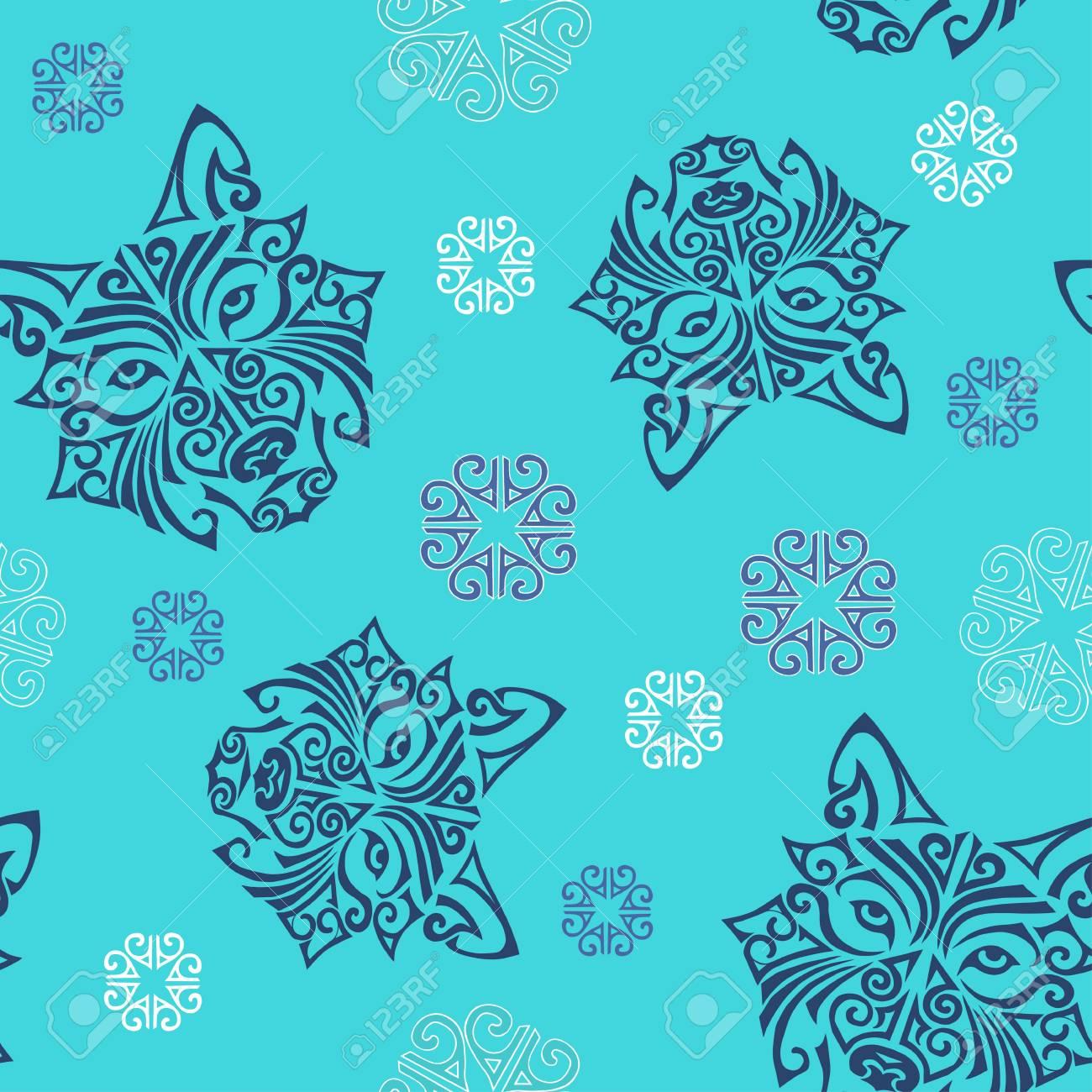 Modele Sans Couture Avec Loup Ou Chien Husky Tete Stylisee Tatouage Maori Visage Symbole De 2018 Annee Vecteur Clip Art Libres De Droits Vecteurs Et Illustration Image 83287053