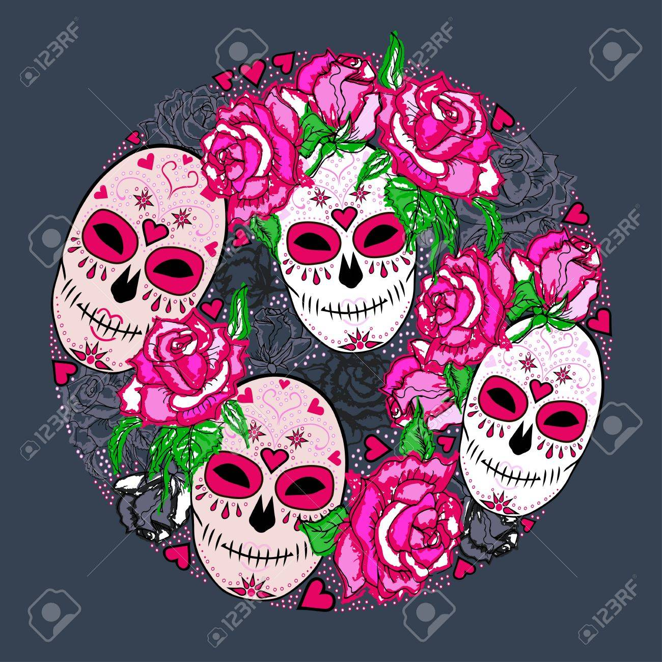 circle concept with sugar skull and pink roses day of the dead