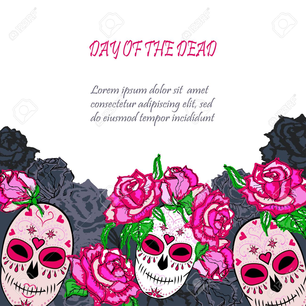 Sugar Skull With Pink Roses Template Text Copy Frame Template
