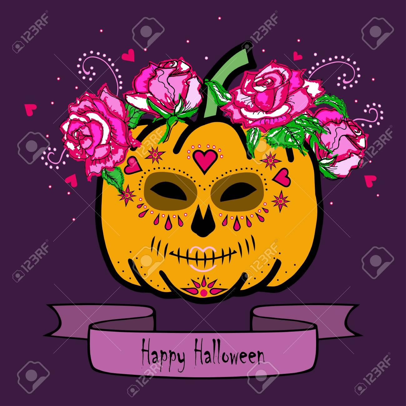 Dag Halloween.Pompoen Met Doodsmasker En Roze Rozen Fijne Halloween Dag Van De Doden Dia De Los Muertos Geisoleerd Op Witte Achtergrond Vector
