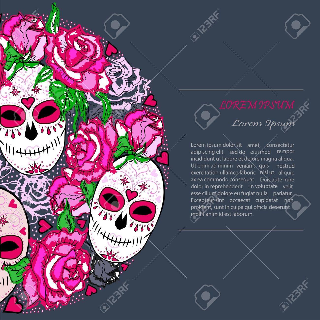 Kreiskonzept Mit Zuckerschädel Und Rosa Rosen. Tag Der Toten (Dia De ...