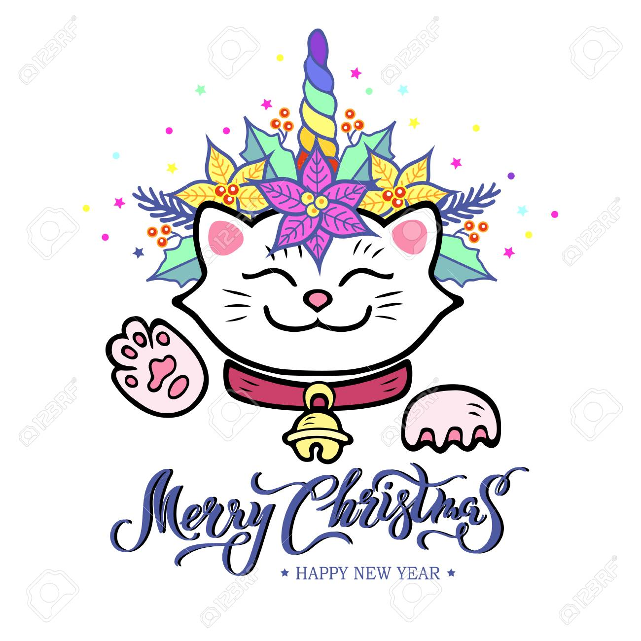 Funny Merry Christmas Card With Hand Drawn Lettering, Maneki ...