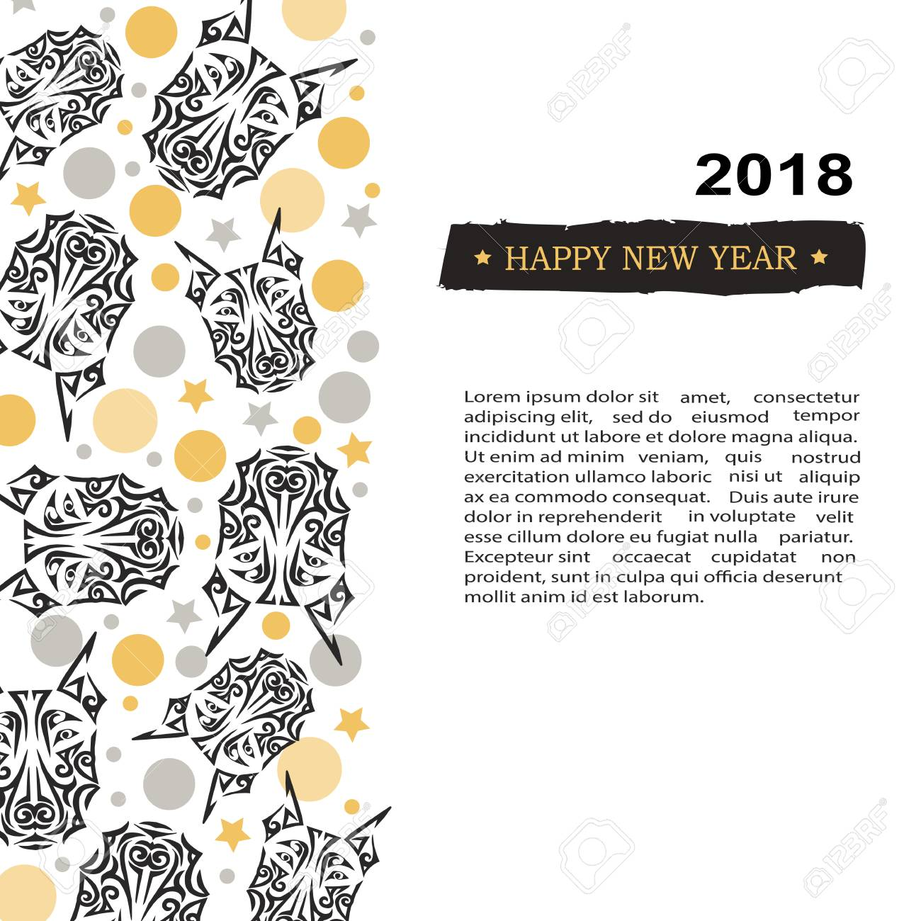 2018 new year card with black doberman dogs head stylized maori face tattoo template for