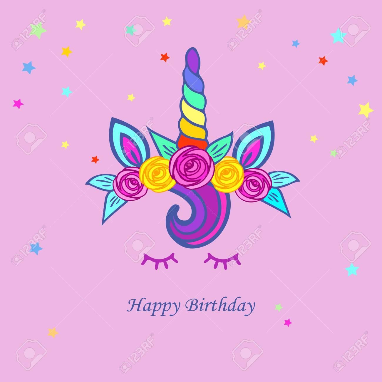 Ilustración Linda Con Unicornio Tiara Arco Iris Cuerno Y Floweres Plantilla Para Invitación De Fiesta Tarjeta De Felicitación Amor Tarjeta