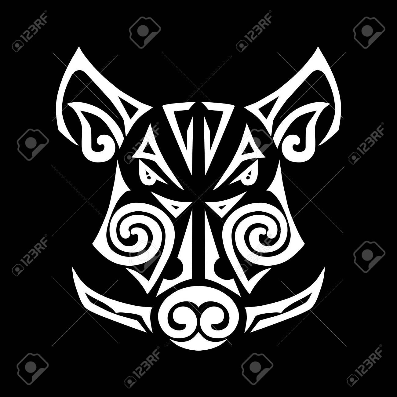 Boar Head Stylized Maori Face Tattoo Isolated On Black Background