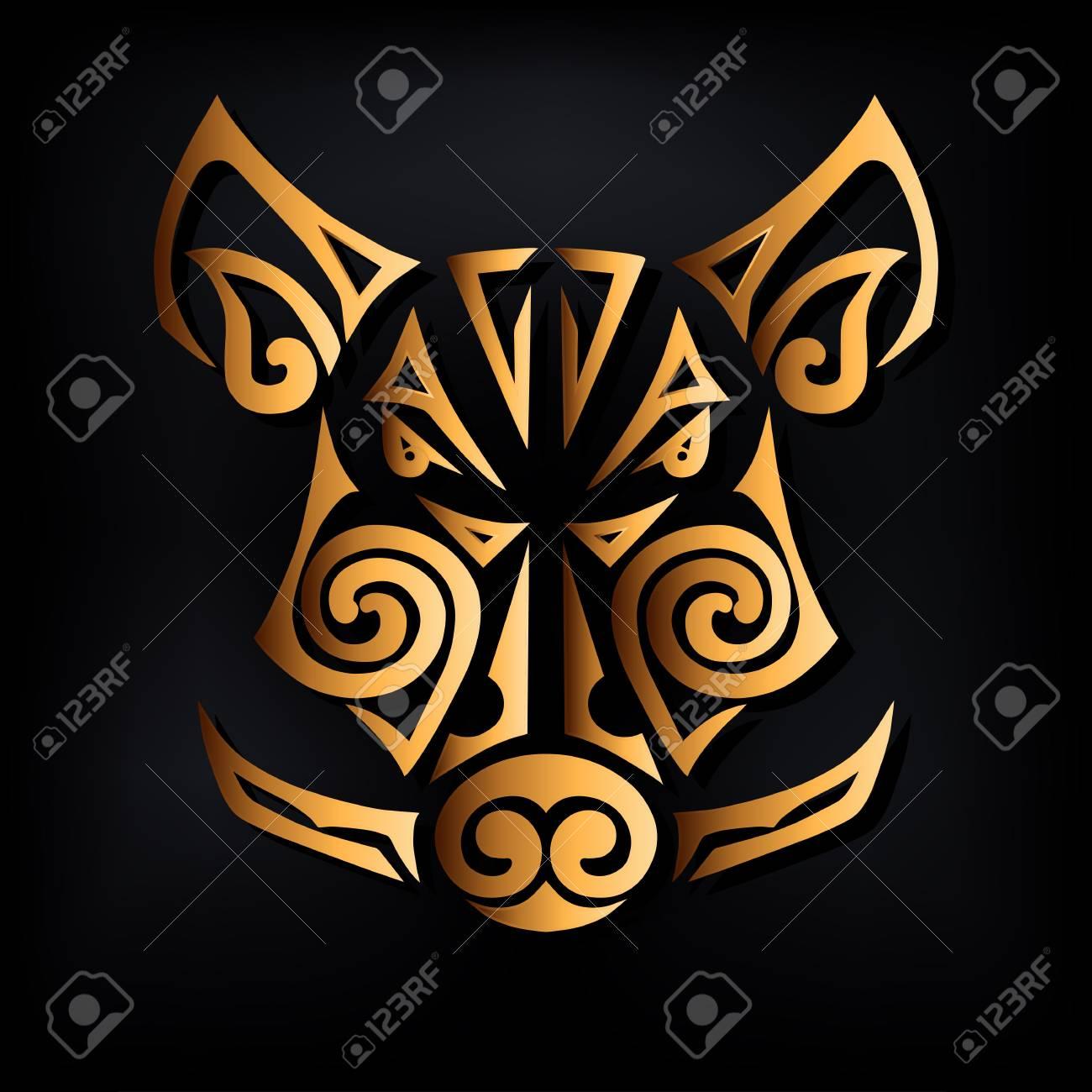 Golden Boar Head Isolated On Black Background Stylized Maori