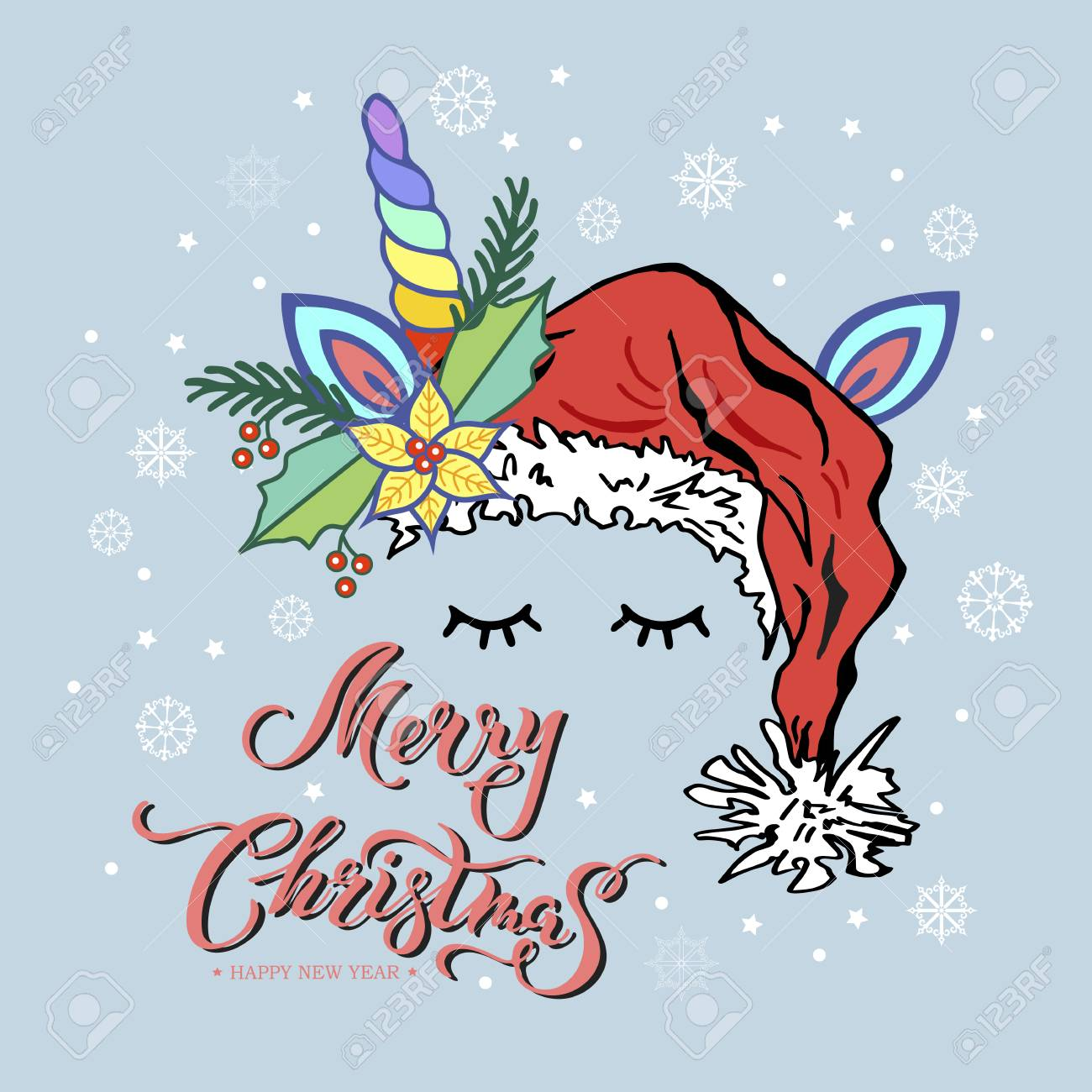 Merry Christmas Card With Hand Drawn Lettering Unicorn Tiara Royalty Free Cliparts Vectors And Stock Illustration Image 95521701
