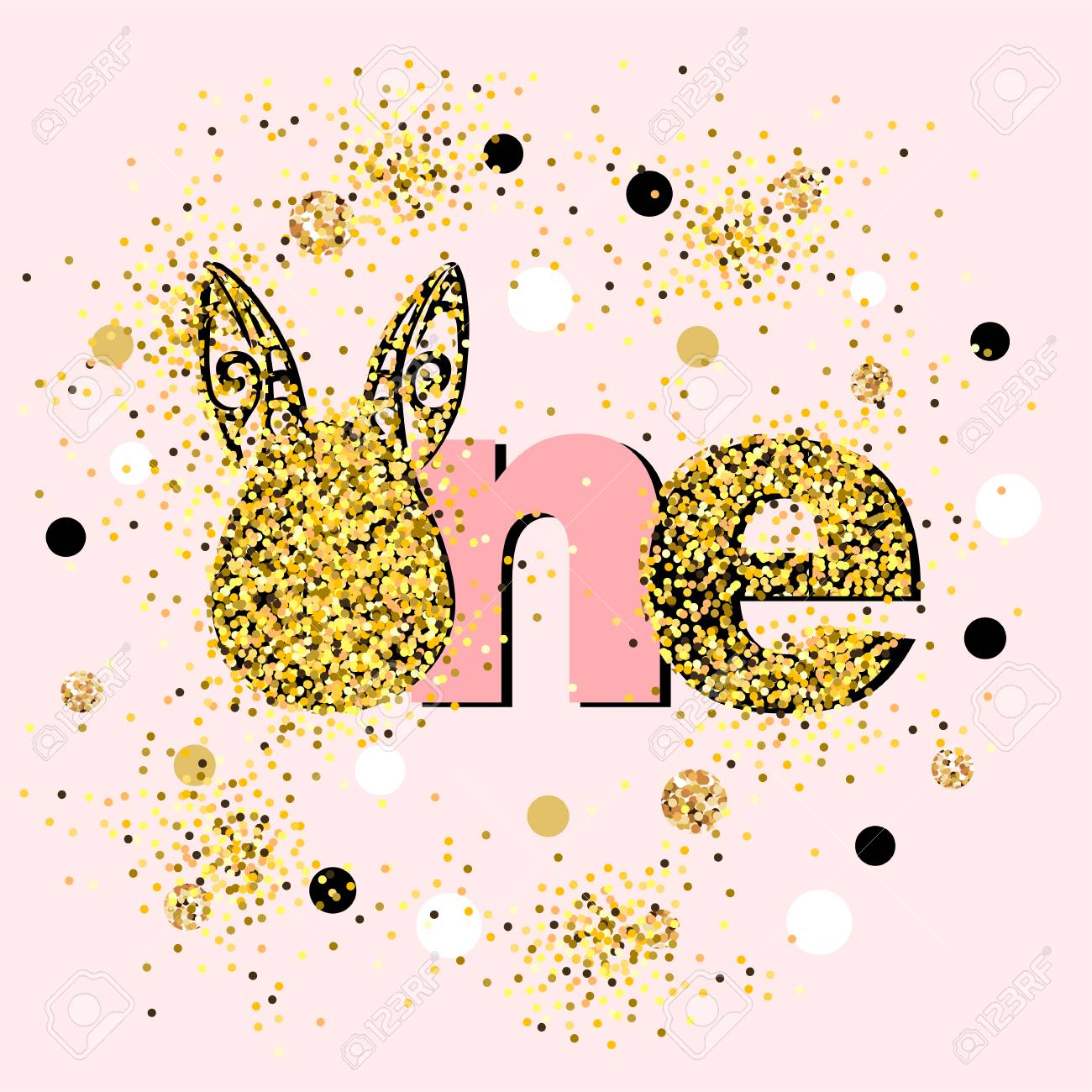 Vector Illustration Golden One With Bunny Ears Template For