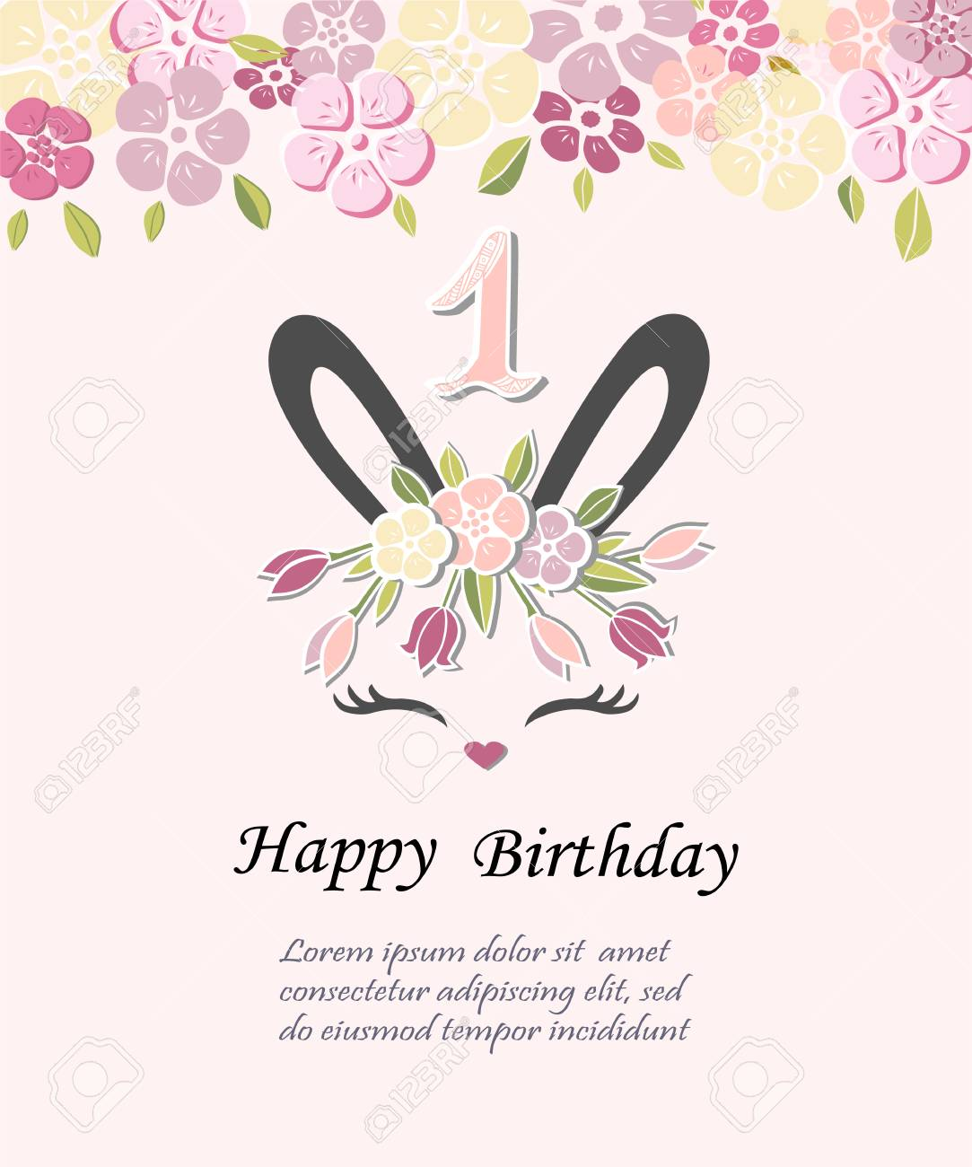 Vector Illustration With Bunny Ears Template For Baby Birthday