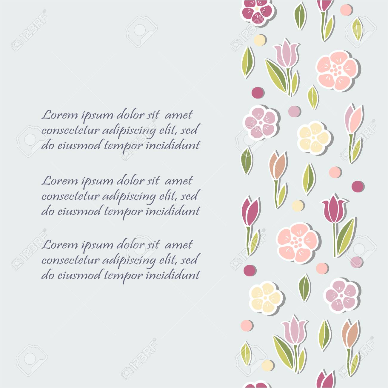 Template With Flowers For Party Invitation, Greeting Card, Postcard ...