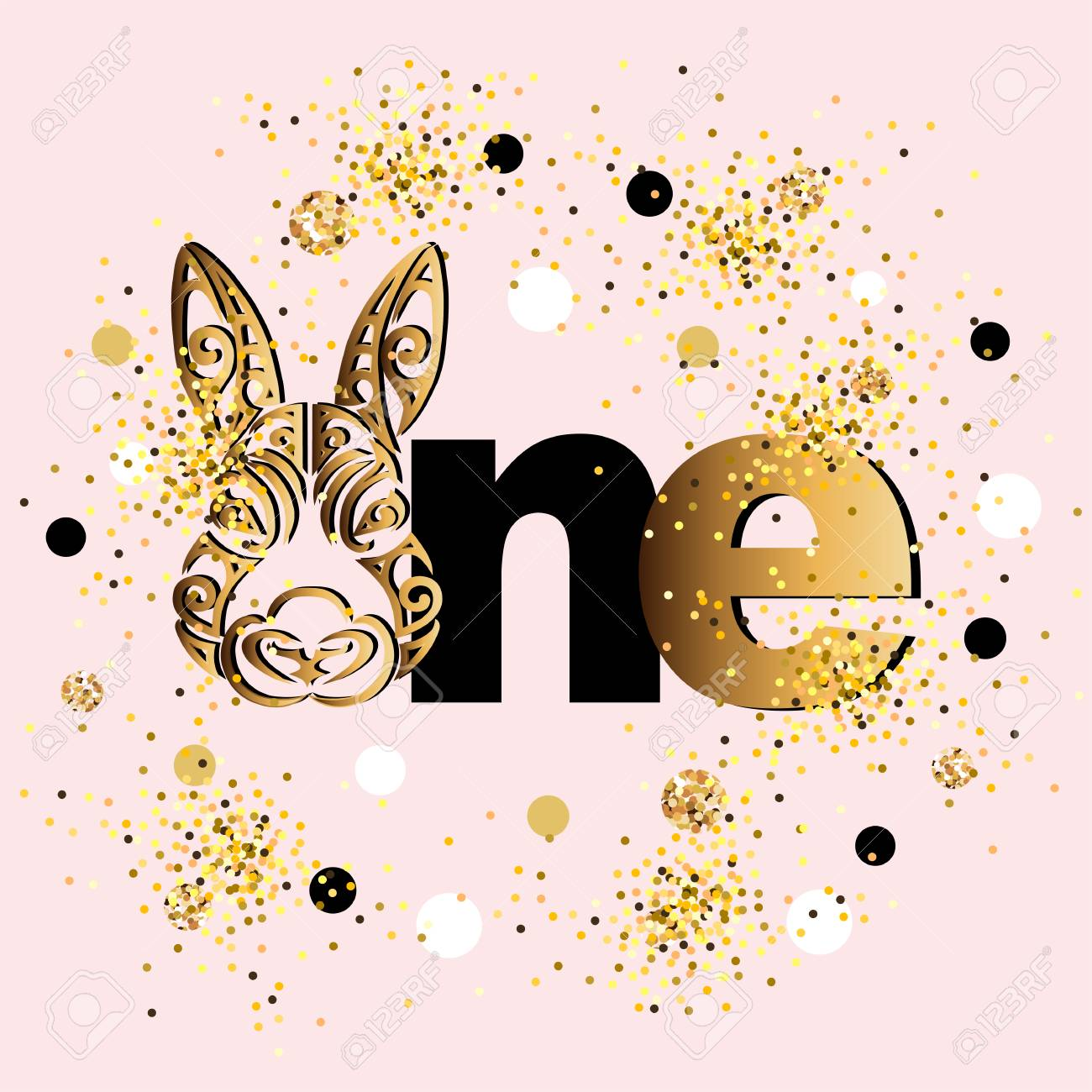 Vector Illustration Golden One With Bunny Head. Template For ...