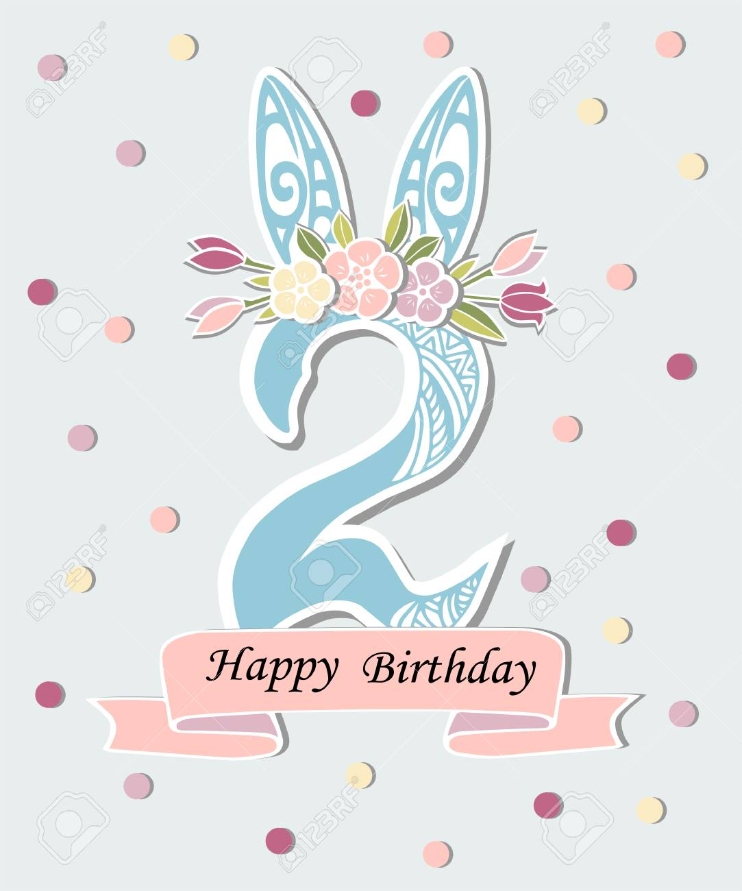 Vector Illustration With Number Two Bunny Ears And Floral Wreath