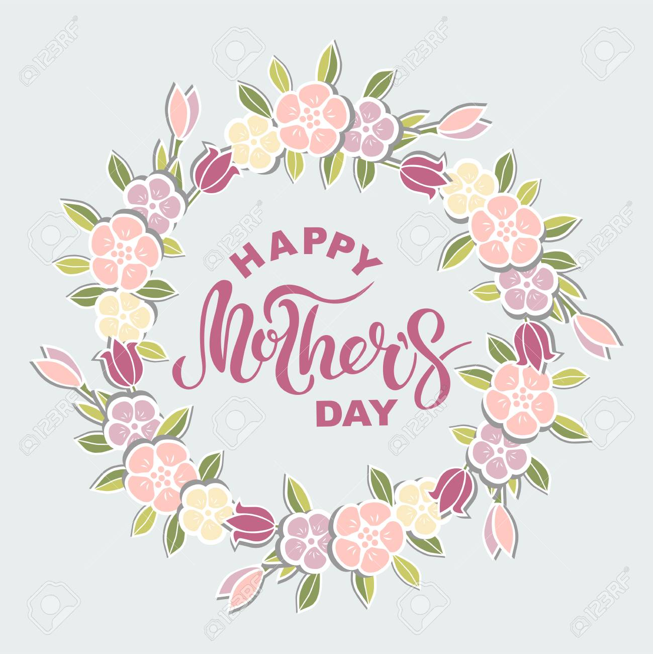 Mothers Day Greeting Card Template With Floral Designs Royalty