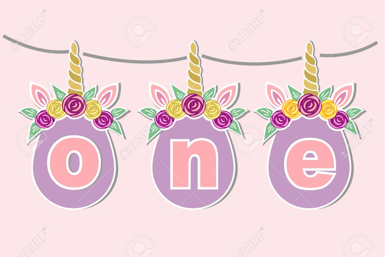 One With Unicorn Horn Ears And Flower Vector Illustration Template