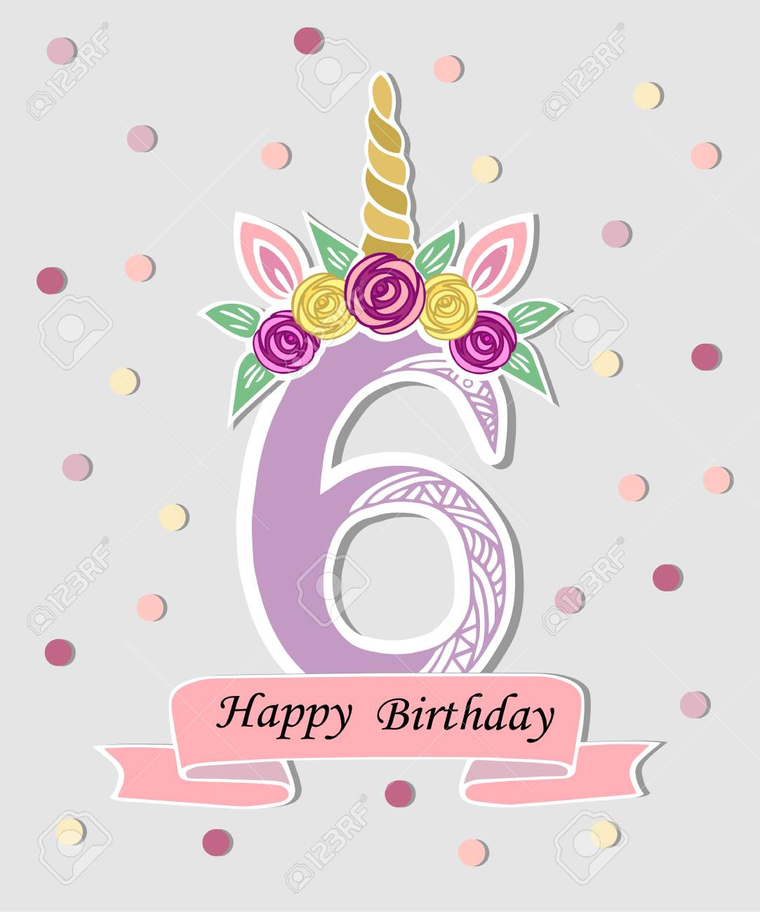 Vector Illustration With Number Six Unicorn Horn Ears And Flower Royalty Free Cliparts Vectors And Stock Illustration Image 98279801