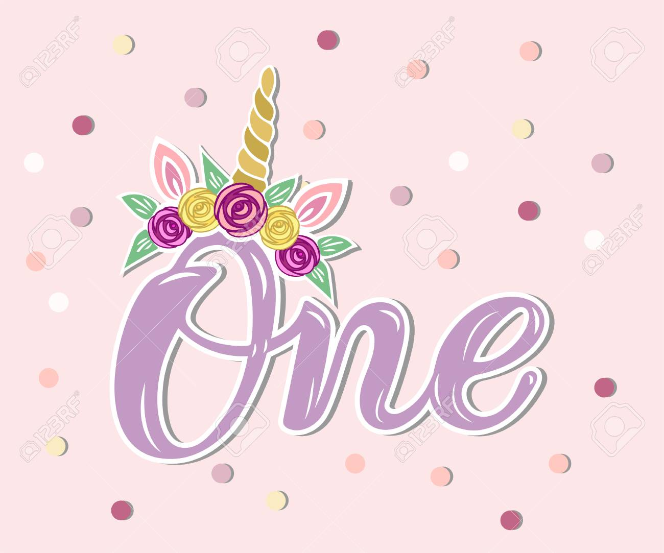 Handwritten Lettering One With Unicorn Horn And Flower Wreath Royalty Free Cliparts Vectors And Stock Illustration Image 100314496