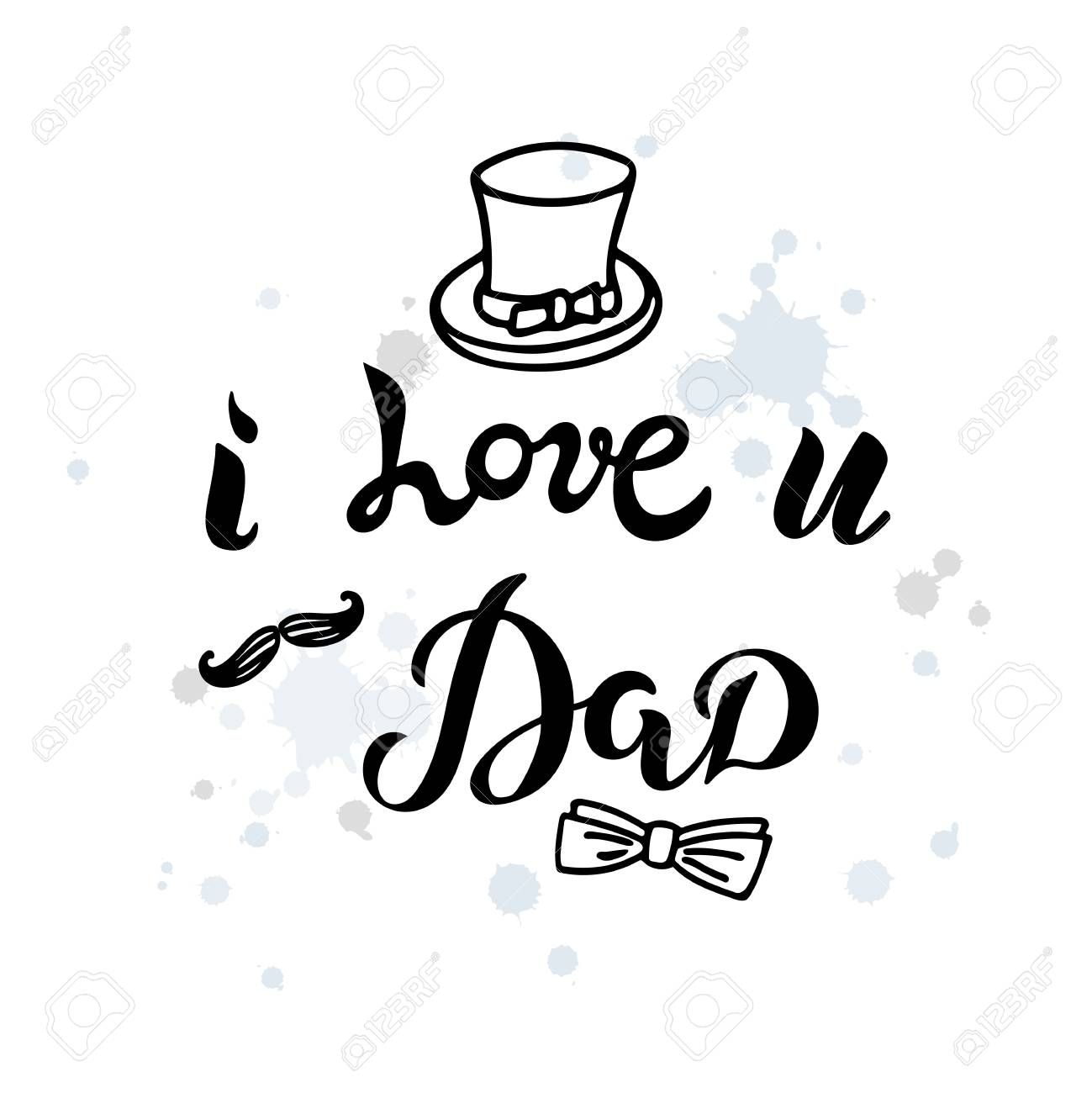 I Love U Dad Text With Isolated On Textured Background Hand