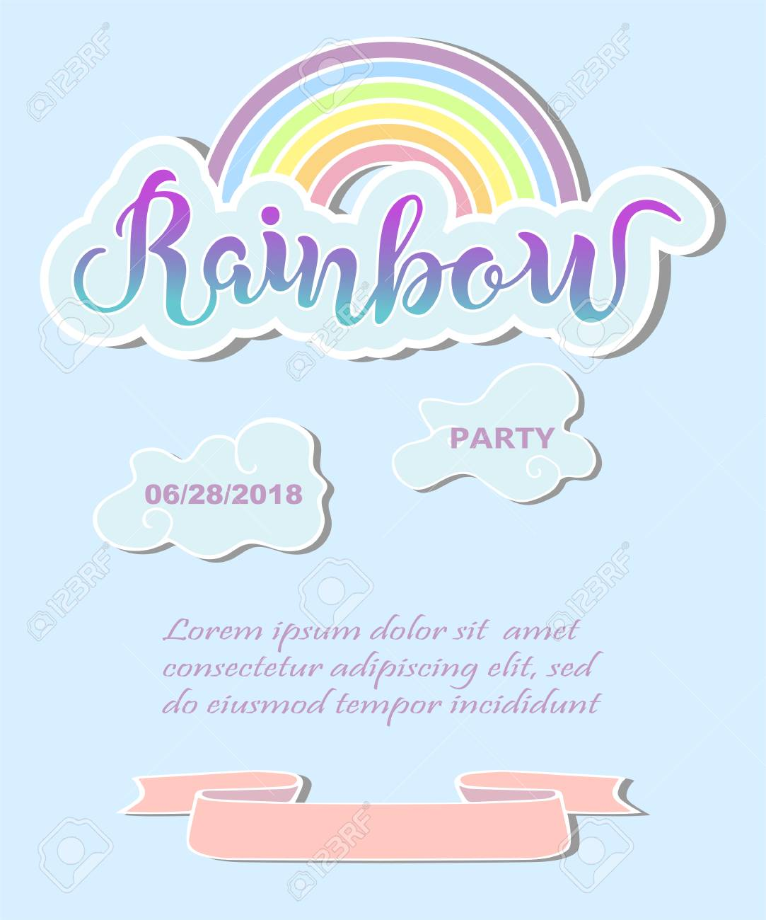 Template For Rainbow Party Happy Birthday Card Invitation Flyers Baby Birth