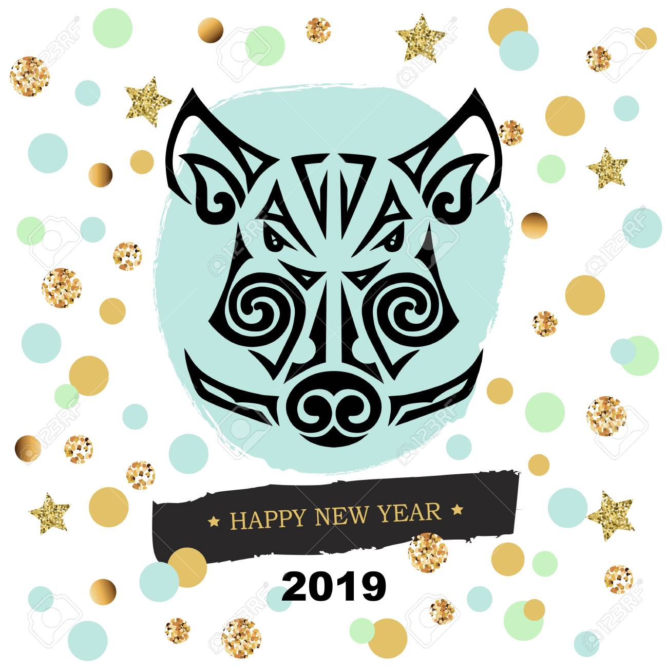 Boars Or Pigs Head Isolated On Background With Confetti Symbol