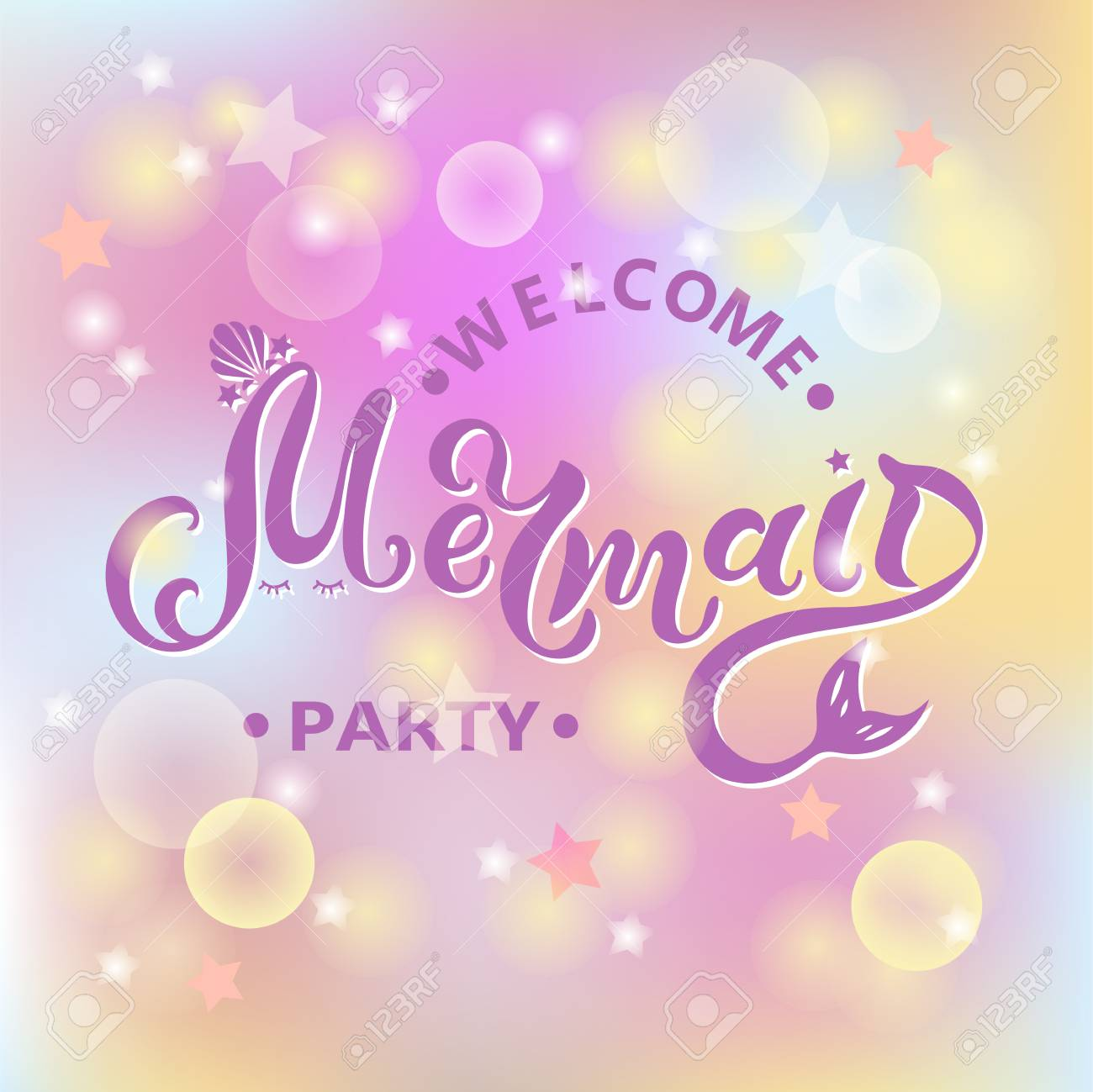 Welcome Mermaid Party Text Isolated On Pastel Colored Background