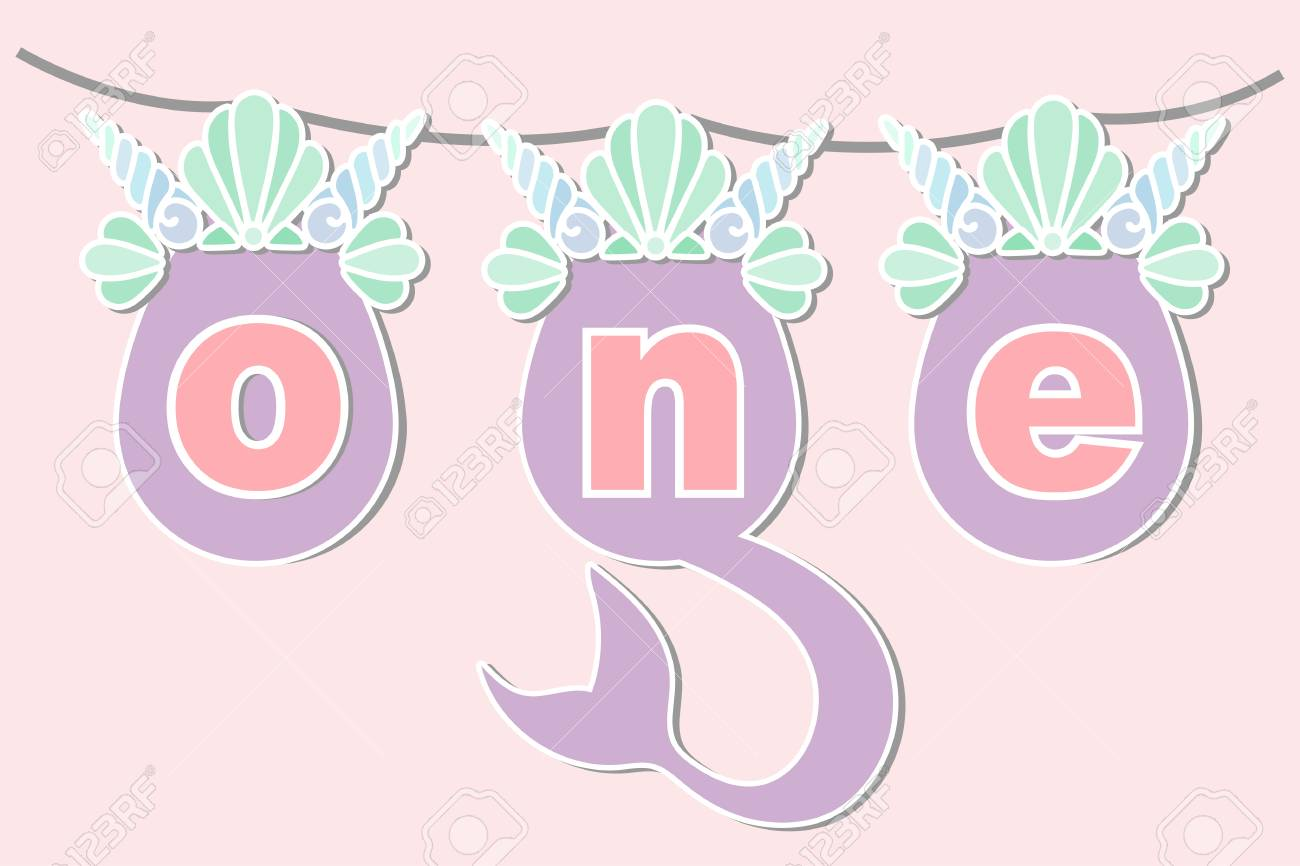Vector Illustration One With Mermaid Tail Sea Shell Crown Template
