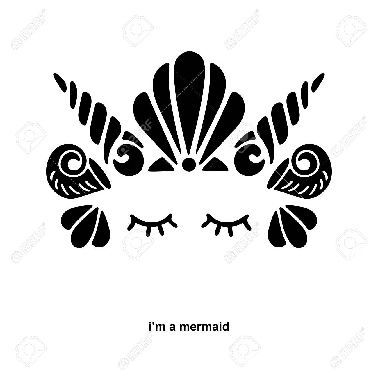 cute template with mermaid logo vector illustration mermaid