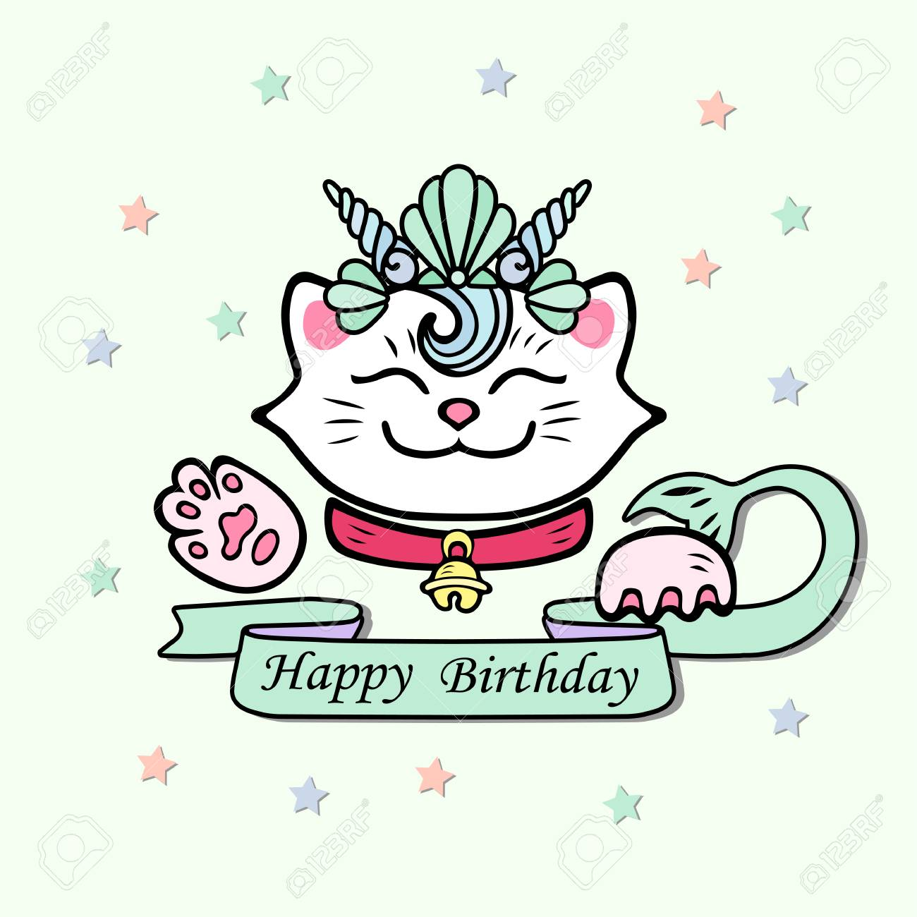 Cute Happy Birthday Card With Cat Marimaid Sea Shell Crown Vector Illustration For Party