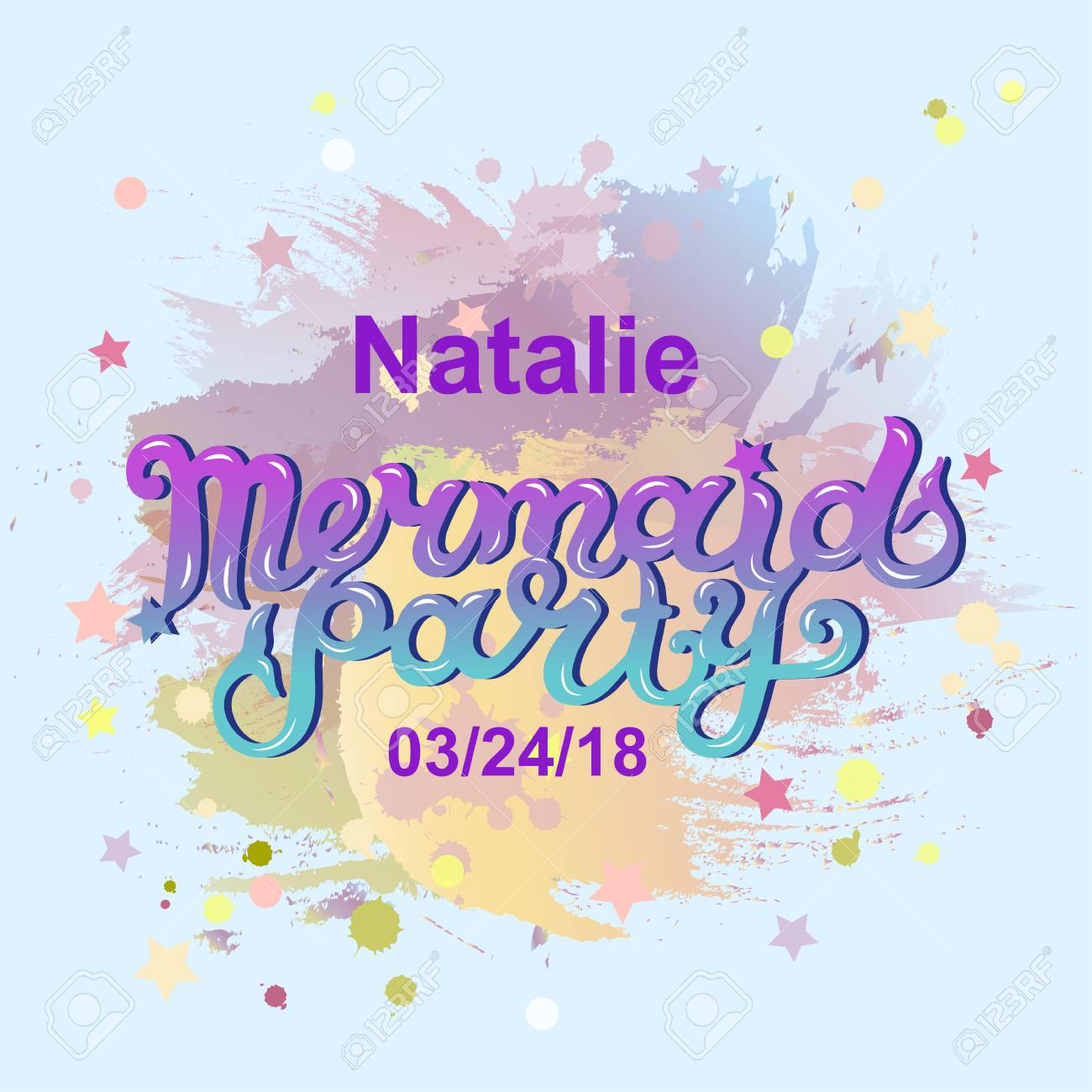 Welcome Mermaid Party Text Isolated On Pastel Colors Background