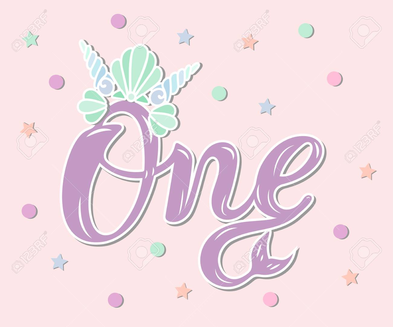 One With Mermaid Crown And Tail Template For Baby Birthday