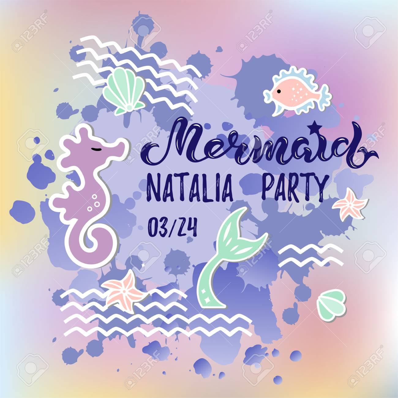 Mermaid Party Text Isolated On Background Hand Drawn Lettering As Logotype Badge