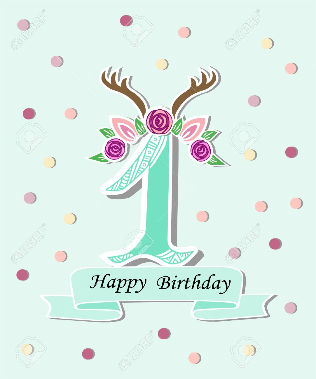 vector illustration number one with antlers flower wreath template